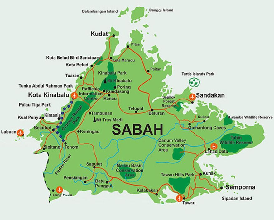 Sabah Maps, wonders of Borneo Island | Bike and Tours